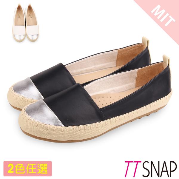 平底鞋-TTSNAP MIT異材質拼接真皮休閒樂福鞋 黑/白