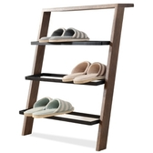 原木日式和風紅橡木實木三層鞋架sz001-胡桃色