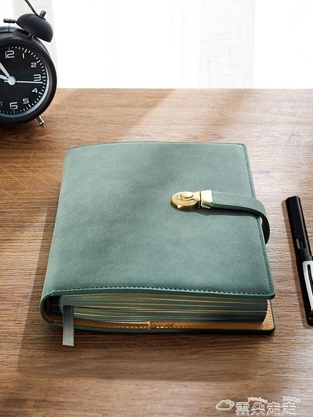 筆記本復古商務筆記本子皮質超厚A5簡約辦公工作會議記錄加厚高檔  雲朵 618購物