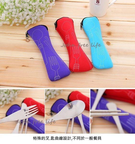 約翰家庭百貨》【AG130】韓式環保 不銹鋼 筷子 湯匙 叉子 餐具 三件組 顏色隨機出貨