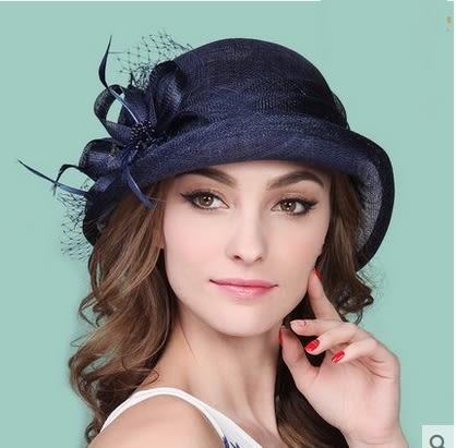 英倫時尚潮絹花麻紗帽復古宴會禮帽太陽帽 -charle0035