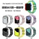 apple watch 1-6 適用蘋果6代冰川限定錶帶 iwatch 23456一體透明錶帶+TPU保護殼