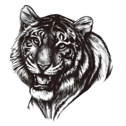 老虎 刺青貼紙 仿真 紋身 刺青 貼紙 動物 防水 黑色 水轉印 夜店 海邊 A0023