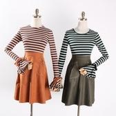 新款時尚潮流百搭青春活力條紋拼色針織毛衣女