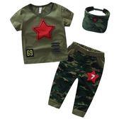 中小男童兩件套裝短袖兒童迷彩服軍裝運動裝