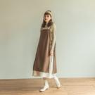 Queen Shop【01085272】配色拼接假兩件綁帶洋裝 兩色售*現+預*