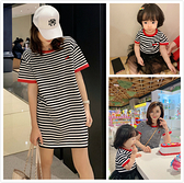 親子裝不一樣的網紅親子裝2021夏裝一家三口母子母女嬰兒裙洋氣條紋T恤