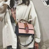 潮韓國仙女小包包斜挎撞色手提小方包手拿包手提包挎包腰包【好康八五折搶購】