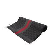 【GUCCI】GG LOGO羊毛圍巾(黑色/綠紅綠) 147351 4G704 1166