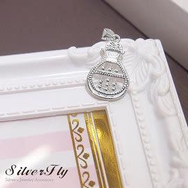 《 SilverFly銀火蟲銀飾 》招財福袋純銀項鍊 算盤