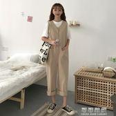 女裝韓版單排扣V領口袋連身褲休閒褲寬鬆寬管褲九分褲直筒褲 可可鞋櫃