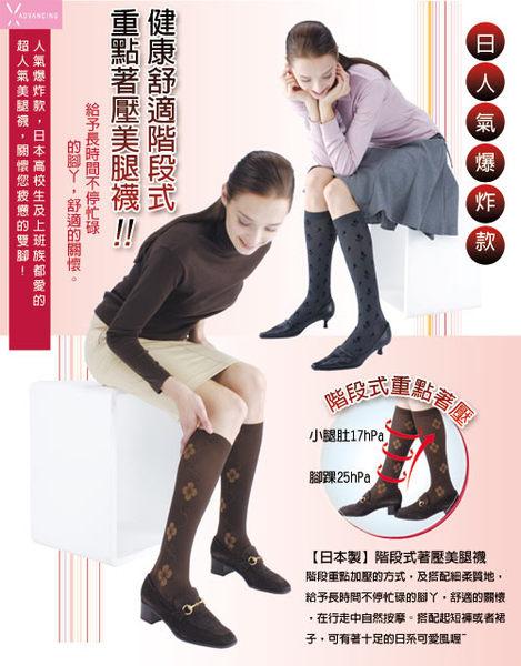 【日本製】階段式著壓小花柄美腿襪(深灰色)