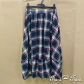 【Tiara Tiara】網路獨家 拼接風格紋純棉半身裙(藍/紅)