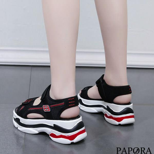 PAPORA運動風厚底涼鞋KB4503黑