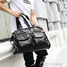 男士手提包   多口袋設計男士手提包橫款潮流皮質街頭男包韓版男包   ciyo黛雅