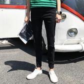 中大尺碼 2018夏季薄款韓版潮流黑色膝蓋破洞牛仔褲男一字破修身 KB832【每日三C】
