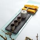 日式陶瓷茶盤茶具長方形單層粗陶茶道托盤家用簡約泡茶乾泡臺小號【618店長推薦】
