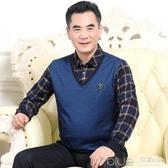 爸爸冬裝加絨加厚保暖毛衣中年男裝長袖T恤假兩件中老年秋裝上衣 深藏blue