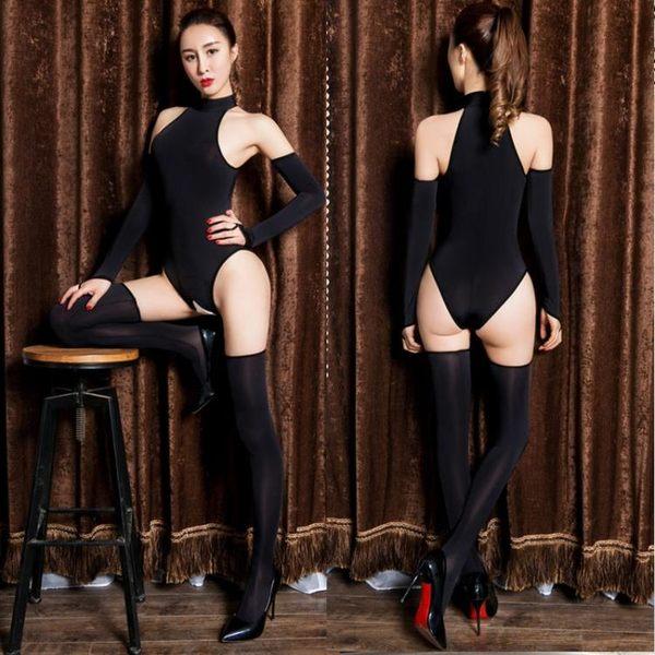 油亮絲滑高叉開襠連體衣拉鍊泳裝塑身衣免脫長筒襪性感情趣套裝女
