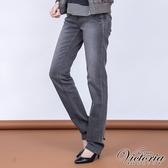 Victoria 豹紋鑽中高腰小直筒褲-女