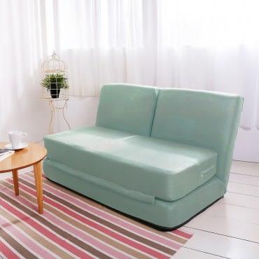 伊登 方塊酥 全獨立筒雙人沙發床(湖水綠)