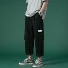 工裝褲子 男夏季2020休閒褲純色貼標多口袋工裝褲韓版潮流薄款大碼長褲 JX1423『Bad boy時尚』