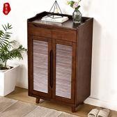 實木鞋櫃 多功能百葉透氣簡約門廳櫃收納櫃多層鞋架大容量儲物櫃