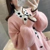 針織外套 慵懶風毛衣外套女春秋新款中長款燈籠袖寬松韓版學生針織開衫