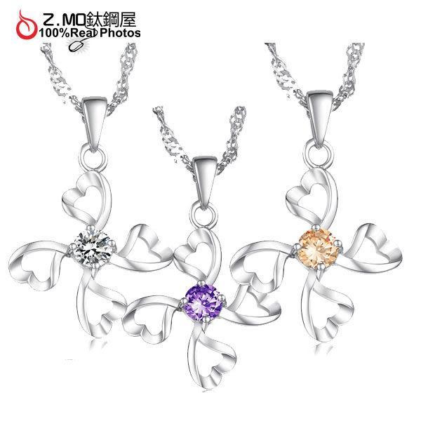 『Z.MO鈦鋼屋』18K鍍白金項鍊,韓國女性飾品,精美設計【俏麗造型】送禮推薦【AKR017】