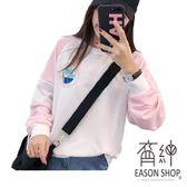 EASON SHOP(GU9162)實拍LOGO印花撞色拼接短版圓領長袖T恤大學T女上衣服落肩棉T恤寬鬆顯瘦內搭衫