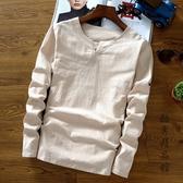 男士加大碼中國風男裝亞麻料新款T恤復古上衣服棉麻布長袖純色t桖 酷男精品館