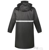 黑色長款風衣反光雨衣外套成人徒步單人連身戶外加厚勞保物業保安 【全館免運】