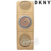 6折↘DKNY / NY3263 / 紐約時尚青春派對手環式真皮手錶 淺粉橘x駝 21mm