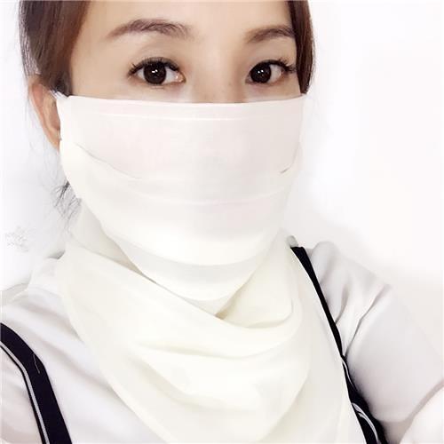 桑蠶絲防曬面罩護頸防紫外線女薄透氣戶外面紗護全臉遮陽口罩 快速出貨