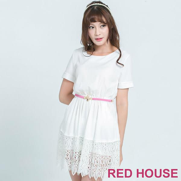RED HOUSE-蕾赫斯-下襬蕾絲拼接長版上衣(白色) 夏季優惠