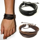 真皮編織手環-麻繩造型情人節生日禮物男女手鍊2色73cs2【時尚巴黎】
