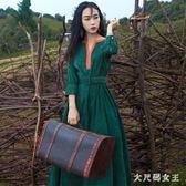 大碼洋裝 秋季新款復古七分袖寬鬆連身裙女氣質顯瘦大擺拖地超長裙 df6443【大尺碼女王】