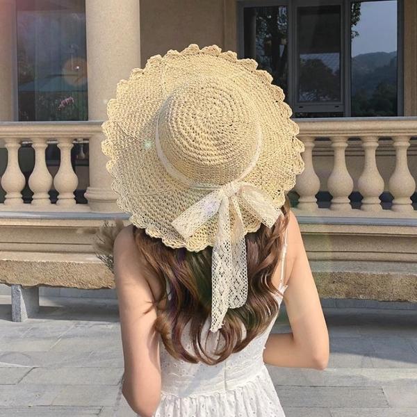 草帽女小清新日系百搭蕾絲綁帶蝴蝶結帽子女夏出游大檐沙灘太陽帽 夢幻小鎮