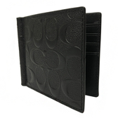 【COACH】浮雕C LOGO 牛皮8卡鈔票夾短夾男款中性(黑)