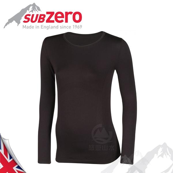 【Sub Zero 英國 女款 Factor1+ 長袖無縫排汗衣《黑》】 Factor 1 PLUS/內衣/薄長袖/防曬