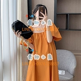 孕婦連身裙洋裝薄款方領法式顯瘦裙子大碼女裝【奇趣小屋】