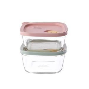 樂扣樂扣微笑矽膠耐熱玻璃調理盒410ML2入