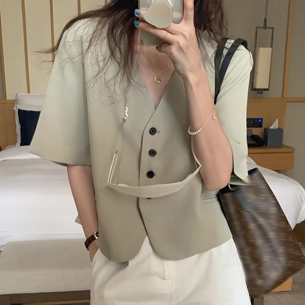 韓國CHIC夏季小眾氣質V領單排扣寬松休閑純色短袖西裝短外套女
