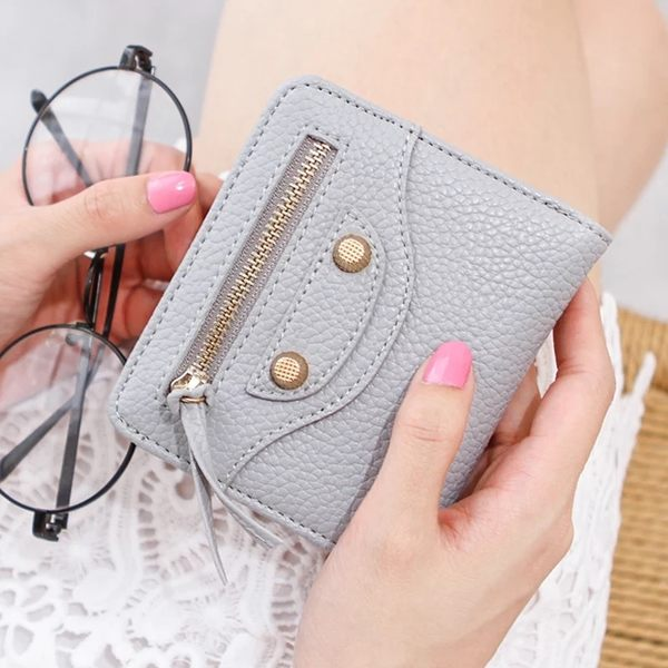 韓版實拍復古鉚釘拉鍊裝飾兩折對開機車錢包女士女用零錢包皮夾長夾中夾短夾手拿包#FU420014