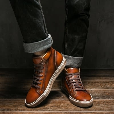 中筒靴真皮-繫帶時尚休閒擦色做舊男靴子2色73kk17[巴黎精品]