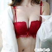 無鋼圈內衣 【送內褲】蕾絲小胸無鋼圈聚攏薄款內衣女性感紅色四角杯文胸套裝 【全館9折】