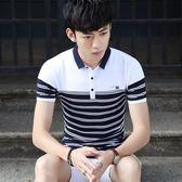 XL/上白下藍 條紋t 韓版polo衫翻領短袖上衣 拼接打底衫