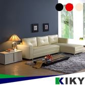 【KIKY】莉亞乳膠獨立筒L型沙發(3色可選)紅色