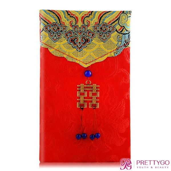 O'Pretty 歐沛媞 緞面紅包袋/禮金袋-直式囍字富貴金(10.5X17cm)【美麗購】