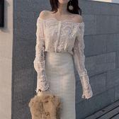 VK精品服飾 韓系仙女蕾絲透視一字領露肩長袖上衣